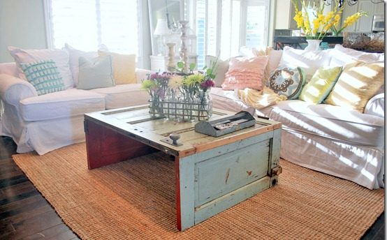 use salvaged doors coffee table