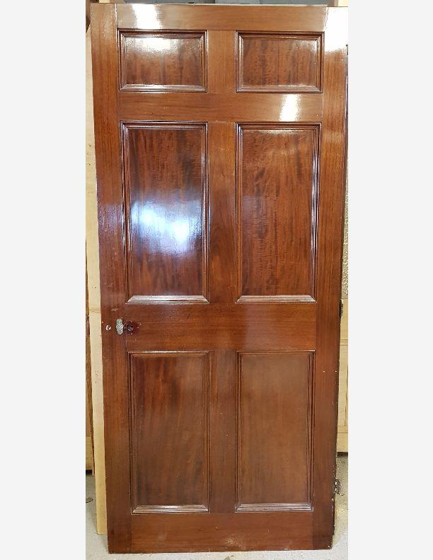 2126 - Stunning Mahogany French polished Georgian 6 panel door