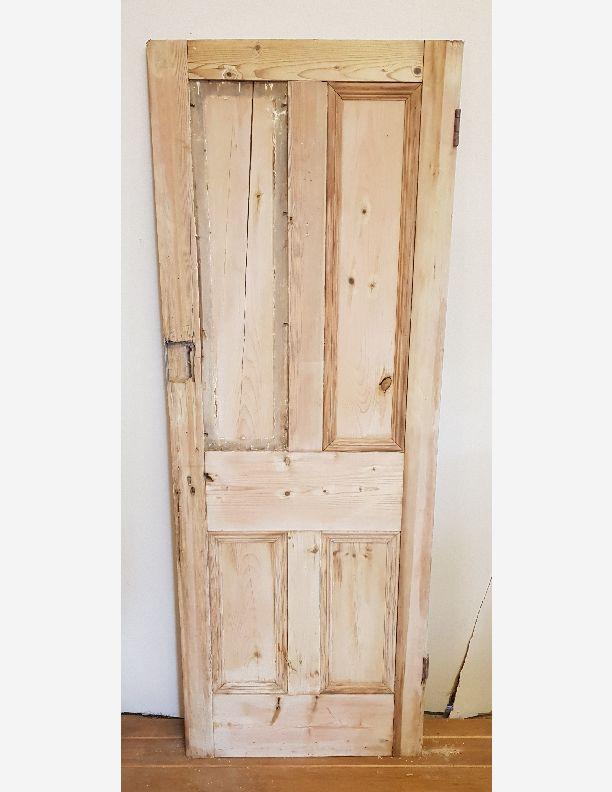 2146 - Victorian 4 panel pine thin door with damaged stile