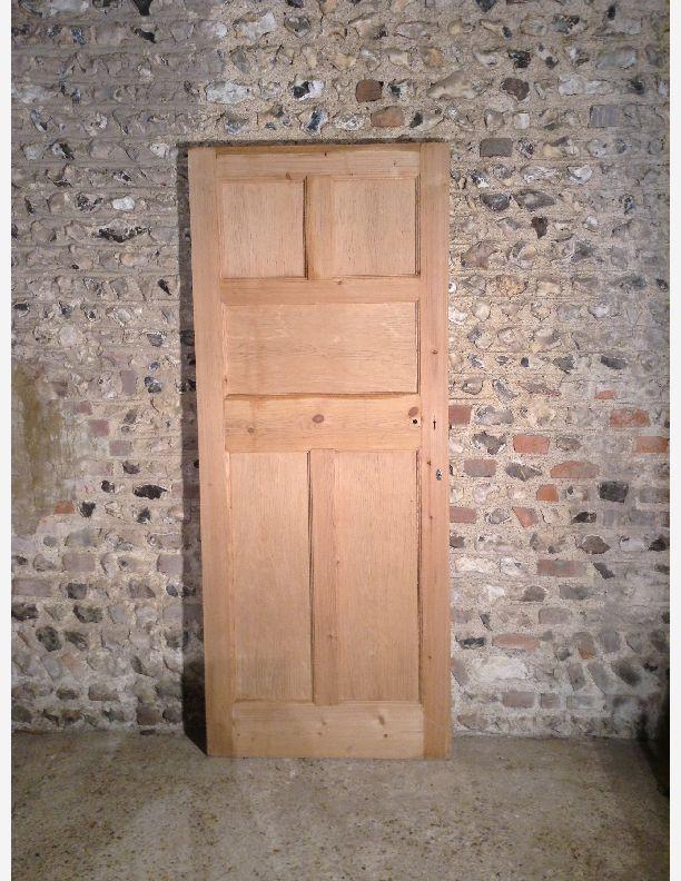 881 - Edwardian internal  door 2 over one over 2 solid panes