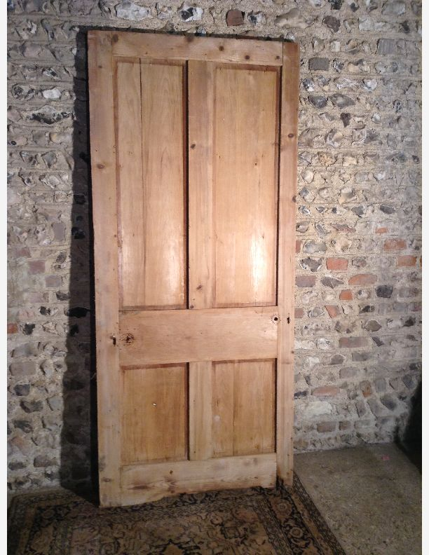 970 - Large 4 panel shaker stripped pine door needs TLC