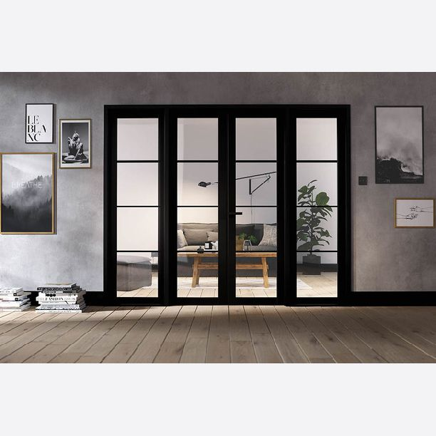 2495 - Contemporary Black glazed room dividers 4 leaf
