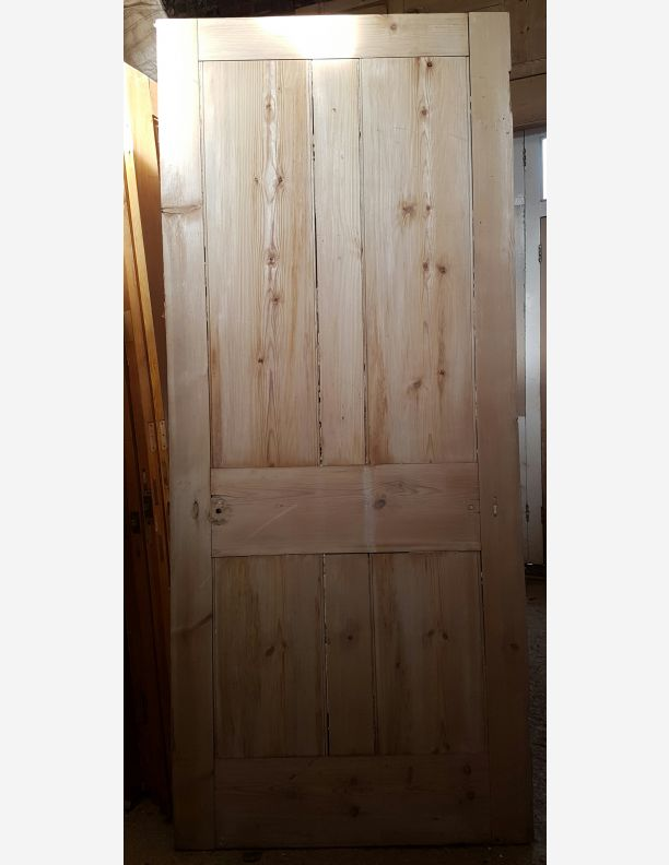 1159 - Victorian stripped pine door 34 x 81
