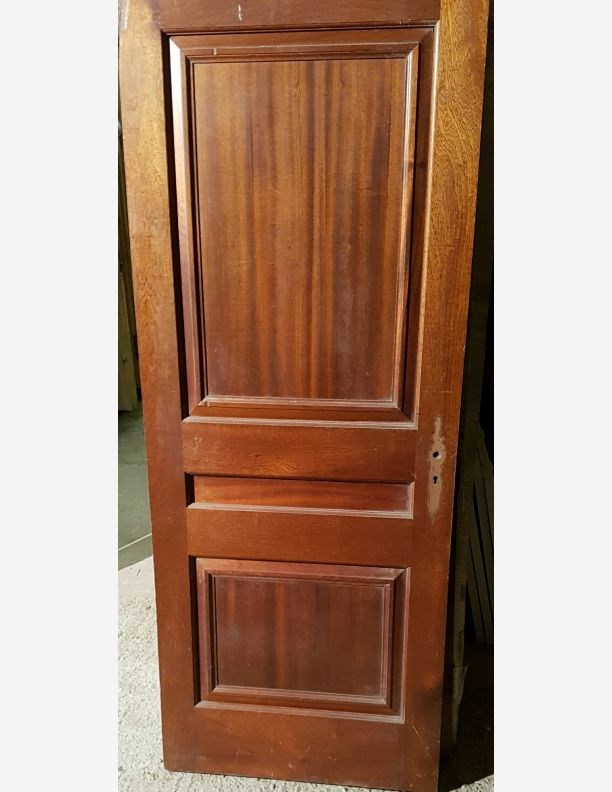 1233 - solid mahogany three panel period door