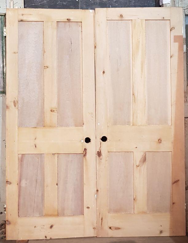 2210 - Shaker style pair of matching Victorian 4 panel doors