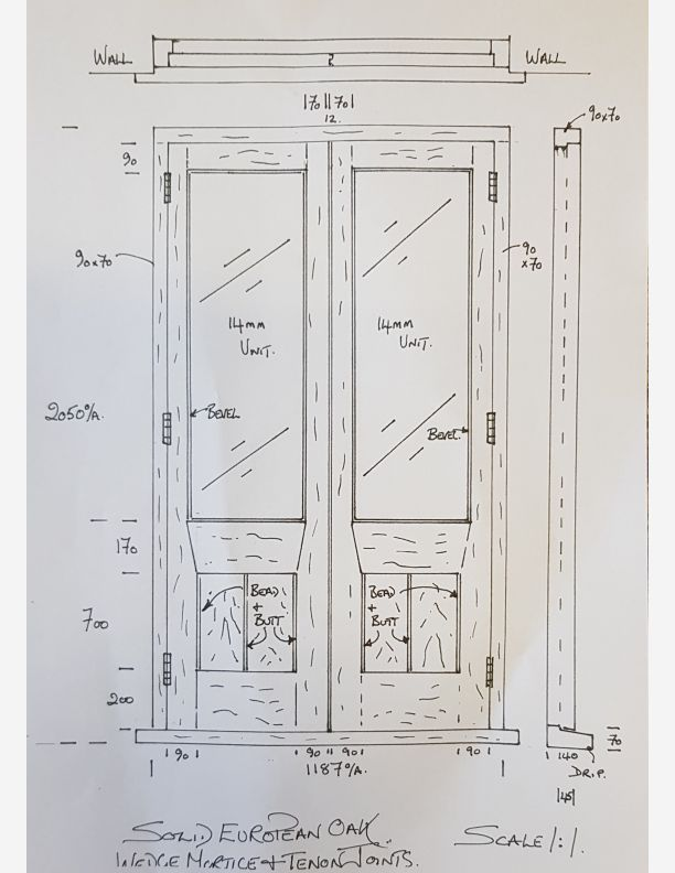 2235 - Pair of European Oak french doors in a hand made frame