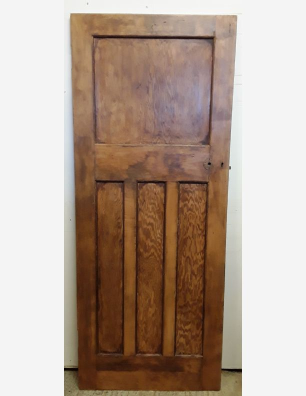 2275 - 1930s large period 1 over 3 waxed pine door 79x31