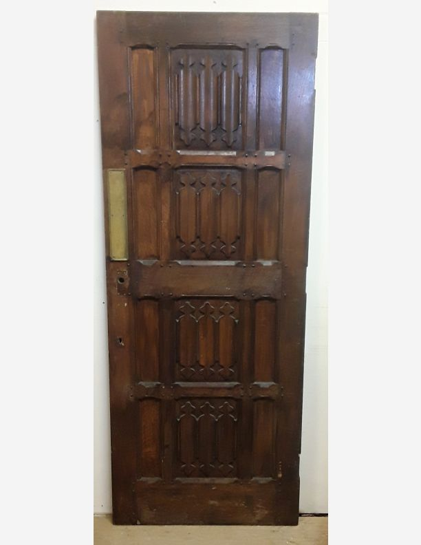 2383 - Mock Jacobian Victorian carved panelled door