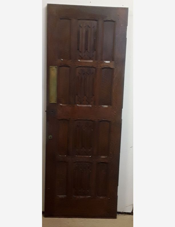 2384 - Mock Jacobian Victorian carved panelled door