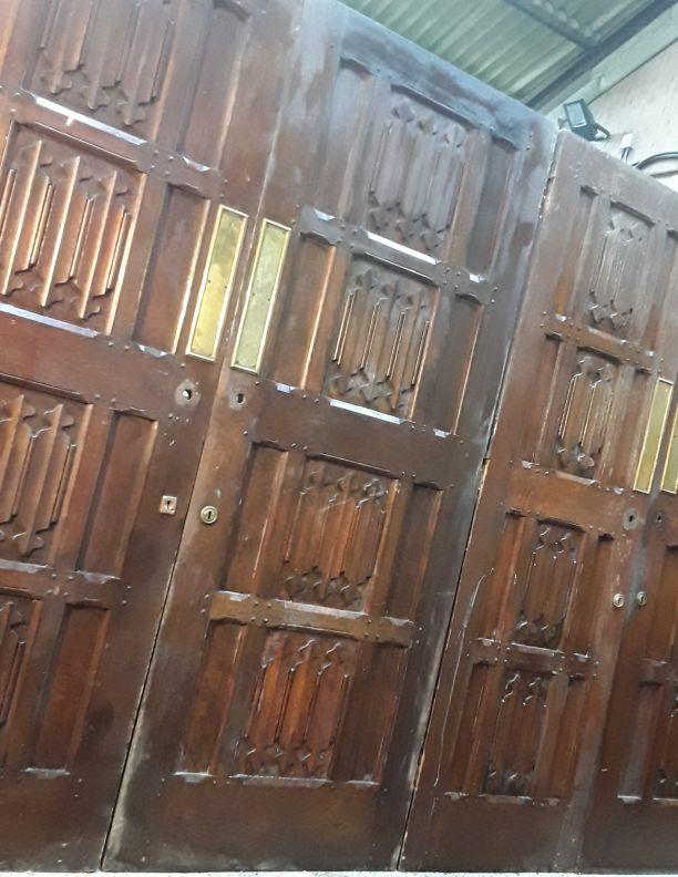 2387 - Set of Mock Jacobian Victorian carved panelled door
