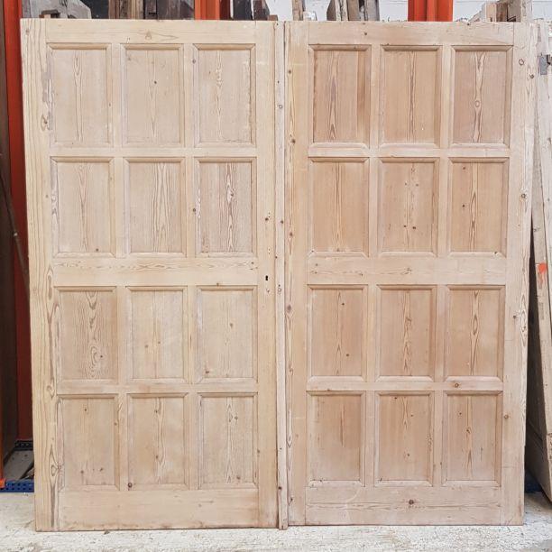2771 - Large pair of 12 panel period pine doors