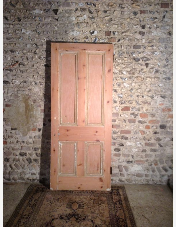 989 - Victorian 4 panel door with moulding both  sides