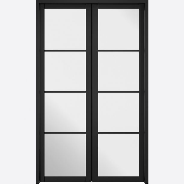 2493 - Contemporary glass black room dividers