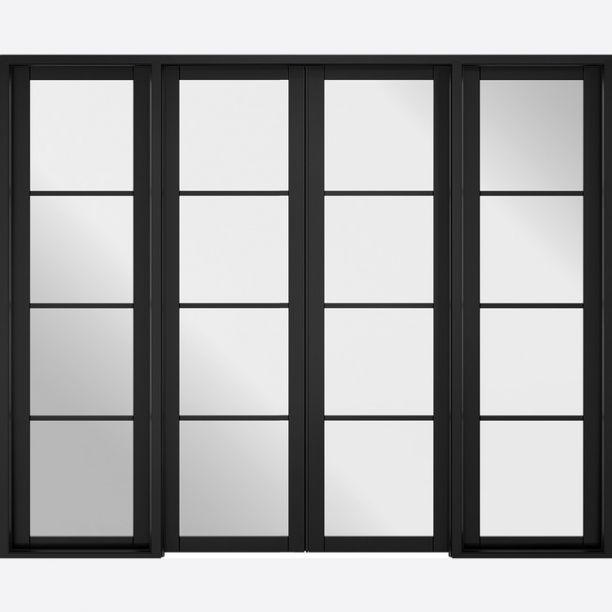 2494 - Contemporary Black glazed room dividers 4 leaf