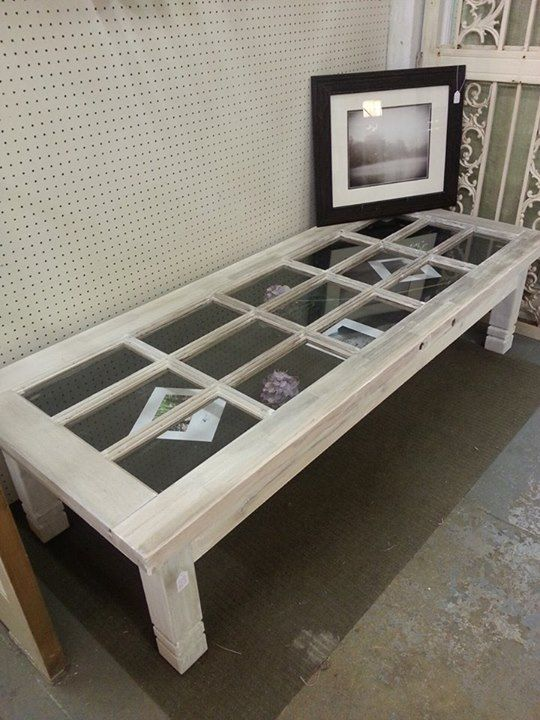 A reclaimed door transformed into a charming coffee table